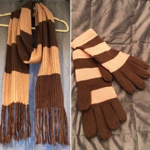 H&M Brown & Tan Striped Scarf and Gloves